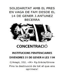 Cartel concentración Becerra 14 Enero