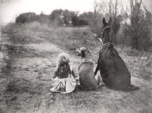 dog-horse-and-little-girl-sitting-on-th-road-black-and-white-old-photo